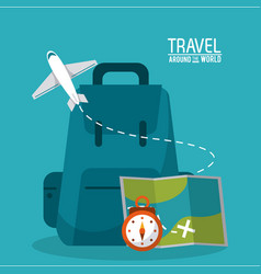 Travel around the world backpack time map plane vector