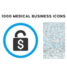 Unlock banking lock icon with 1000 medical vector