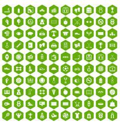 100 basketball icons hexagon green vector image