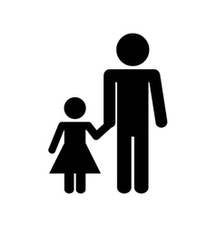 Father daughter kit isolated icon vector