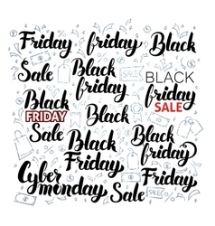 Black friday lettering with doodles vector