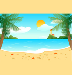 Tropical beach landscape template vector