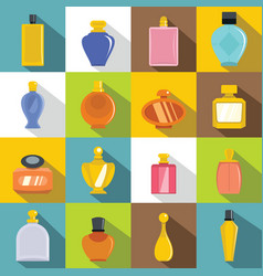 Perfume bottles icons set flat style vector