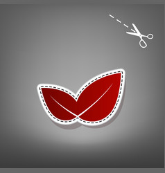 leaf sign red icon with for vector image