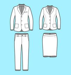 Set of a blazer pants and skirt vector