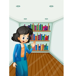 A teacher presenting the books in the bookshelves vector image