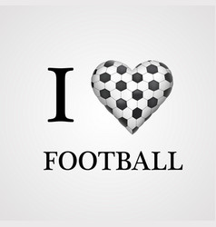 I love football font type with heart sign vector