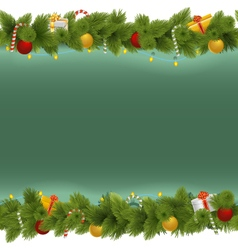 Green christmas background with garland vector