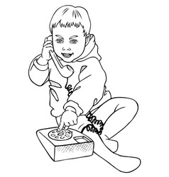 Boy and phone vector
