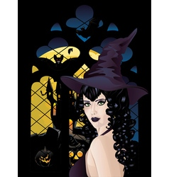 Witch near gothic window4 vector