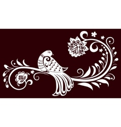 Decorative branch with a bird decorative leaves vector