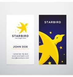 Star bird abstract business card template vector