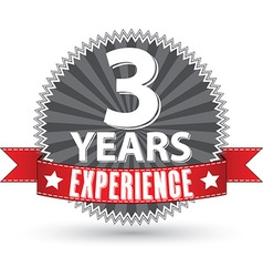 3 years experience retro label with red ribbon vector image