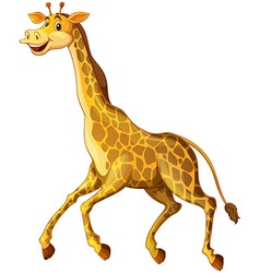 Giraffe with happy face running vector