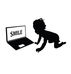 Child front of laptop silhouette vector