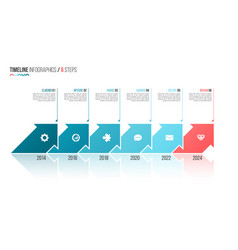 arrows shaped timeline infographic template 6 vector image vector image