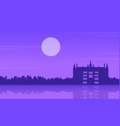 At night guidhall london scenery silhouettes vector