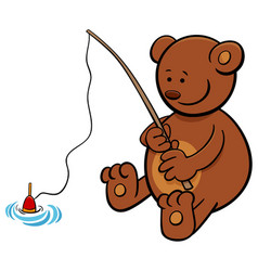 bear on fishing cartoon vector image