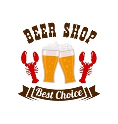 Beer shop emblem with drink and snacks vector