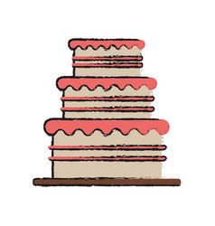 birthday tower pink cake vector image