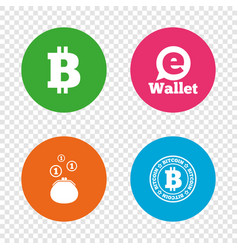 Bitcoin icons electronic wallet symbol vector