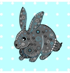 Bunny rabbit easter ethnic pattern vector