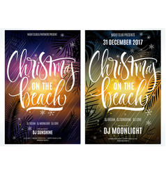 Christmas on the beach poster vector