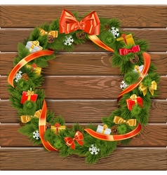Christmas Wreath on Wooden Board 10 vector image vector image