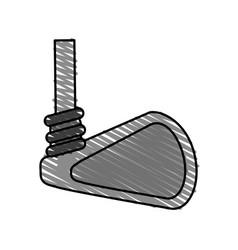 Color crayon stripe cartoon closeup golf club vector