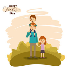Colorful card of landscape with son in shoulders vector
