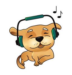 Cute dog in headphones vector