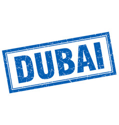 Dubai blue square grunge stamp on white vector