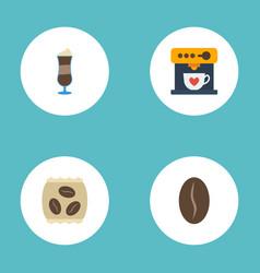 flat icons arabica bean mocha coffeemaker and vector image