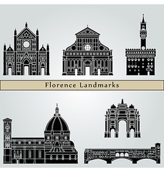 Florence landmarks and monuments vector