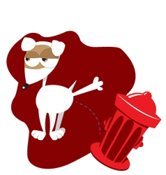 Funny dog and fire hydrant vector