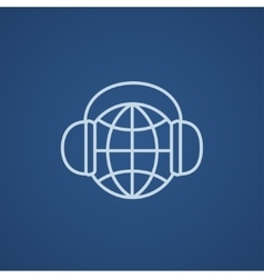 Globe in headphones line icon vector image