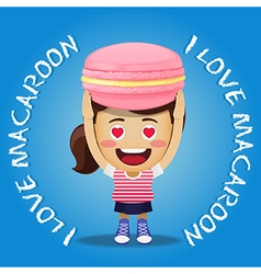 Happy woman carrying big pink macaroon or macaron vector