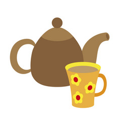 icon in flat design for restaurant tea kettle and vector image