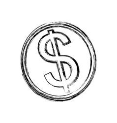 isolated coin symbol vector image