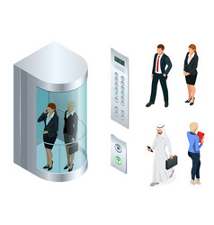 isometric design of the elevator with vector image