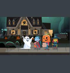 Kids wearing monsters costumes walking in town vector