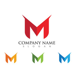 M letter logo template design vector