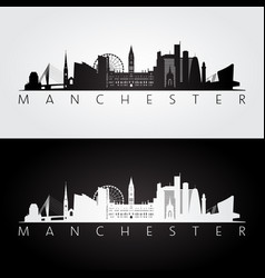 manchester skyline and landmarks silhouette vector image