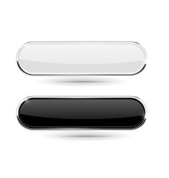 oval buttons with chrome frame black and white vector image vector image