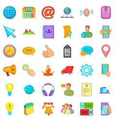 Phone talking icons set cartoon style vector