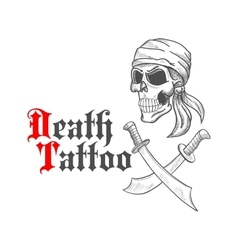 Pirate skull in bandana sketch and crossed swords vector