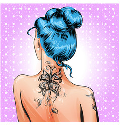 pop art pin-up girl with tattoo vector image