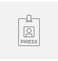 Press pass ID card line icon vector image