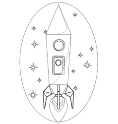 Rocket flying in the space among a stars contour vector