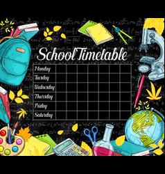 School timetable on black chalkboard vector